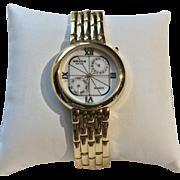 Vintage Retro Gruen SWISS Men's Quartz Watch Two Sub Dials Day/Date Unique Face