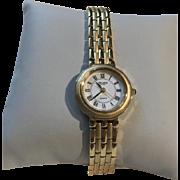 Gruen SWISS Ladies Quartz Watch Two Tone Brushed Polished Link Bracelet Goldtone Vintage