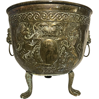 Antique 19th Century Brass Repousse Jardiniere British Royal Coat of Arms Lion Paw Feet
