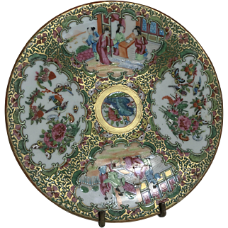 """Gorgeous Antique Chinese Medallion Rose Famille Porcelain Plate 9.5"""""""