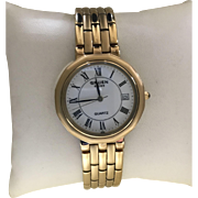 Gruen Swiss Vintage Brushed Polished Two GoldTone Mens Quartz Watch Never Worn