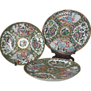 19th Century Rose Medallion Set of 3 Plates