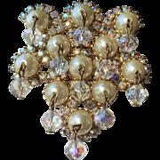 RARE Stunning D&E Pearl Cluster Crystal Aurora Borealis Rhinestone Brooch