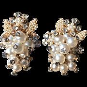Vintage Floral Grape Cluster Gold Tone Filigree Faux Pearl Rhinestone Earrings