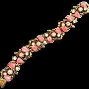 Vintage D & E Pink Carved Leaf Goldtone Bracelet