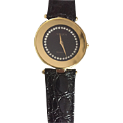 Vintage Gruen Quartz Black Ladies Watch Rhinestone Dial