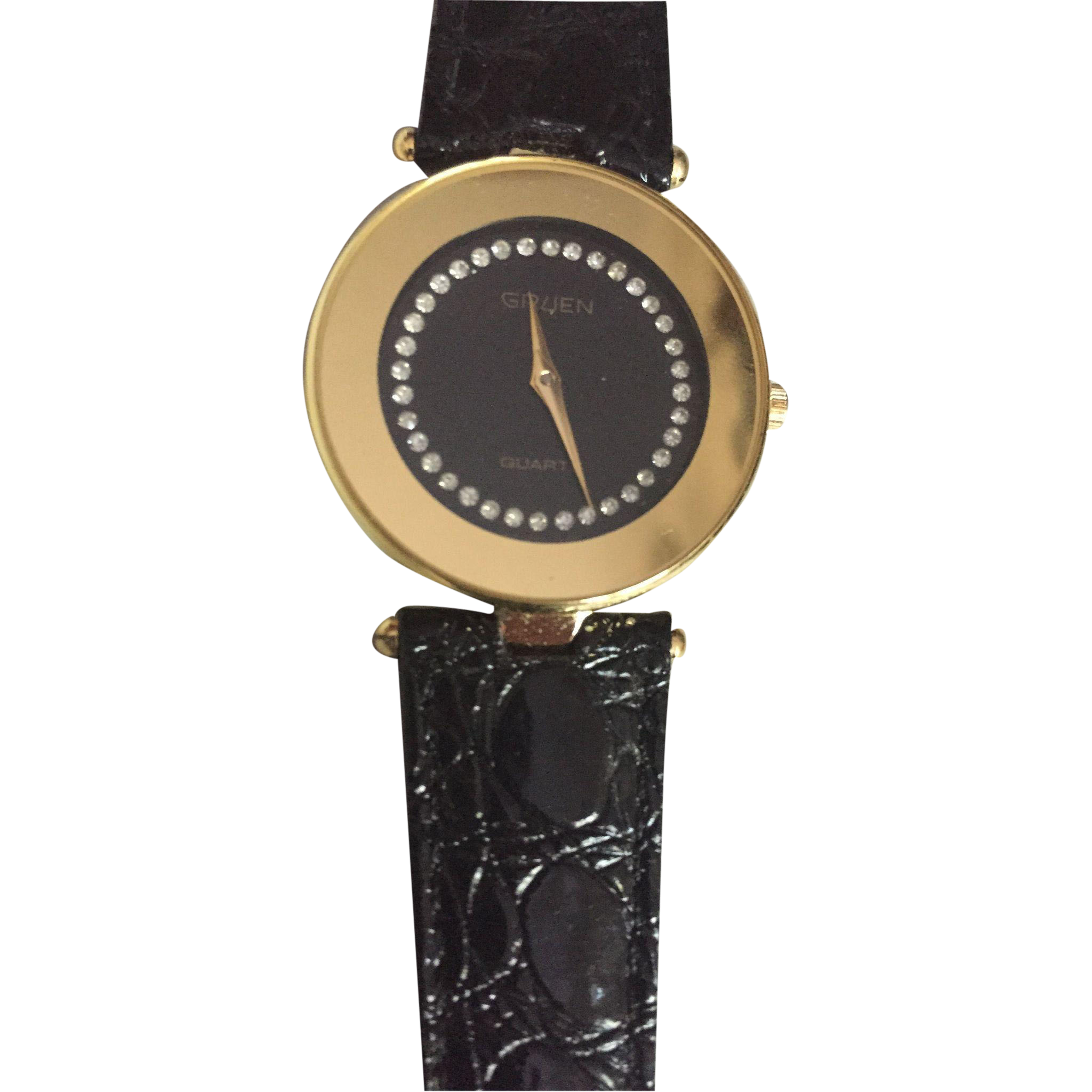 vintage gruen quartz black ladies watch rhinestone dial. Black Bedroom Furniture Sets. Home Design Ideas