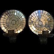 Pair Rare Antique Mirrored Tin Sconces