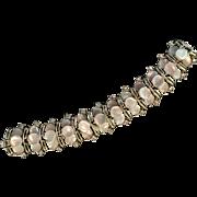 Stunning Vintage Simulated Mother of Pearl Disc Rhinestone Bracelet