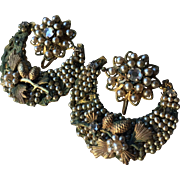 Rare Jonne' Schrager Seeded Montee Crescent Moon Earrings Intricate Design