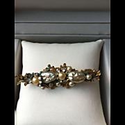 Miriam Haskell Stunning Baroque Pearl Filigree Bar Brooch