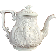 19C Salt Glaze Molded Teapot Nautical Relief