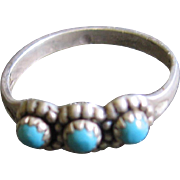 Vintage Sterling Baby Ring w. Turquoise