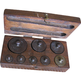 Vintage Brass Weight Set of 8
