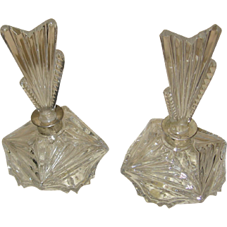 Wonderful Art Deco Perfume with silver Top-Pair-