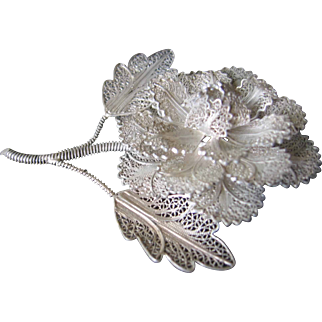 Sterling Filigree Huge Rose brooch