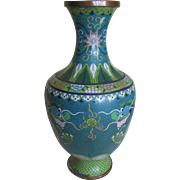 Vintage Asian Cloisonne Vase with 2 Dragon