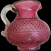 Cranberry Hand blown glass Cream pitcher