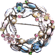 Rhinestone and Enamel Brooch