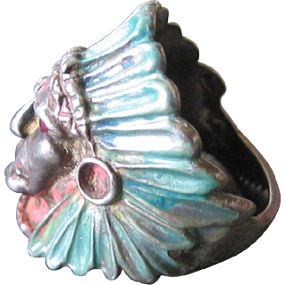 Vintage Sterling Ring--Native American Chief