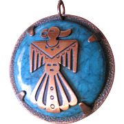 Vintage Copper-Faux Tuquois Pendent-By Bell-