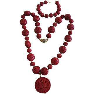 Genuine Cinnabar Necklace and Bracelet Unusually Large Size