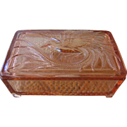Deco Trinket/Jewelry Box with Bird of Paradise-Pink Glass-