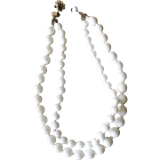 Vintage Miriam Haskell Milk Glass Bead Necklace