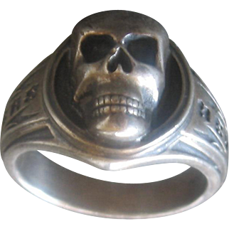 Vintage Sterling Biker Ring-by Beverly Hills Choppers-Size 11