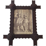 Antique Tramp Art Carved Picture Frame with Corner Rosette Detail