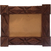 Large Antique Tramp Art 9-Layer Chip Carved Picture Frame, c late 1800s