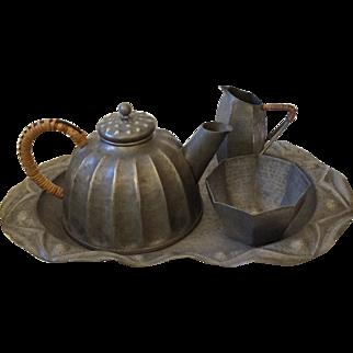 Antique French Art Nouveau Pewter Tea Set by Alice & Eugene Chanal, c. 1915