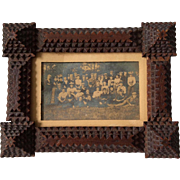 Antique Tramp Art Chip Carved Picture Frame