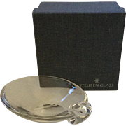 Steuben MidCentury Sloped Crystal Candy or Nut Bowl, with Gift Box