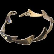 Niels Erik From Denmark MidCentury Sterling Silver Boomerang Bracelet