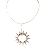 Tone Vigeland Handcrafted Silver Neck Ring with Sun Pendant in Presentation Box