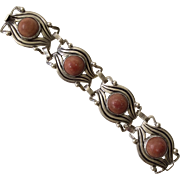 Early Mexican Coral and Sterling Silver Bracelet, c 1930s
