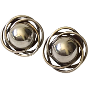 Carmen Beckmann Mexican Modernist Sterling Silver Earrings, c 1950s