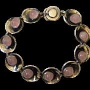 Niels Erik From Danish Modernist Silver and Rose Quartz Bracelet, c. 1960