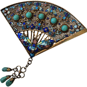 BOOK PIECE Art Deco Cloisonné Enamel Gilt Butterfly Fan Brooch with Turquoise