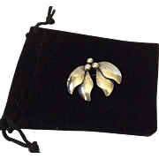 Niels Erik From Sterling Leaf and Berry Pin, Denmark c. 1940s