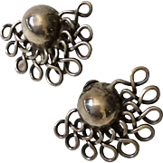 "William Spratling Taxco Sterling Silver ""Lace Moons"" Earrings, c. 1940s"