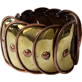 Hector Aguilar Design Mexican Mixed Metals Armadillo Bracelet by Casa Maya, c. 1950s