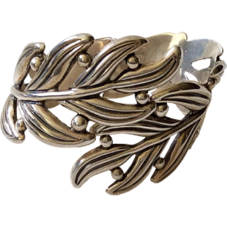 Margot de Taxco Modernist Sterling Silver Leaf and Berry Bracelet, by Hilario Lopez