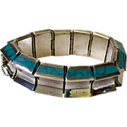Taxco Modernist Sterling Silver and Turquoise Bracelet