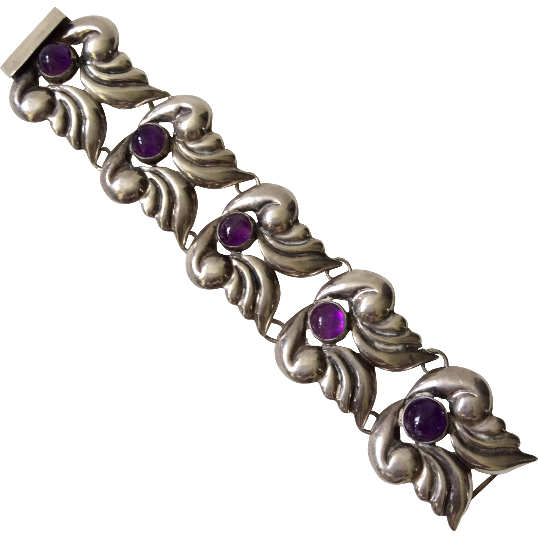 Early Mexican Sterling Silver And Amethyst Bracelet C