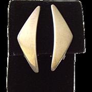 """Hans Hansen Denmark Modernist Sterling Silver """"Peak"""" or """"Boomerang"""" Earrings"""
