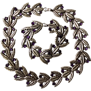 Early Mexican Parure: Sterling Silver Amethyst Necklace, Bracelet, and Earring Set
