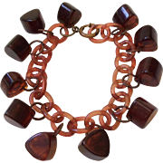 Tortoiseshell Lucite Charm Bracelet