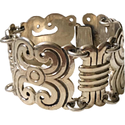 Early Mexican Sterling Silver Panel Bracelet c. 1940s, 118 grams